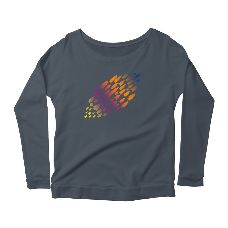 Iowa Projectile Points (Rainbow, Version 2) Women's Scoop Neck Longsleeve T-Shirt by Iowa Archaeology Gifts, Prints, & Apparel