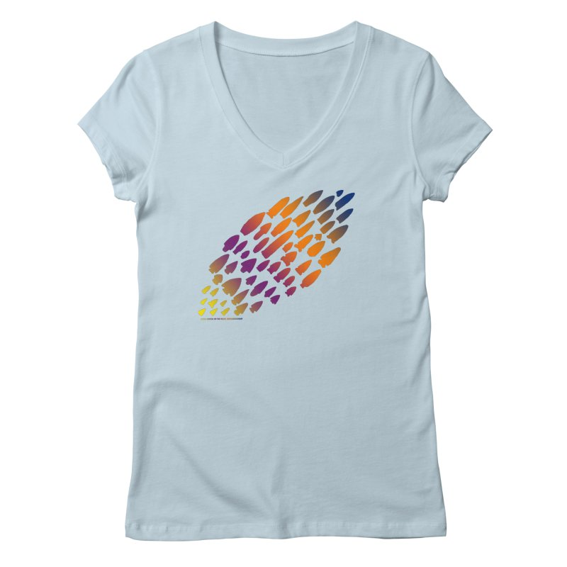 Iowa Projectile Points (Rainbow, Version 2) Women's Regular V-Neck by Iowa Archaeology Gifts, Prints, & Apparel
