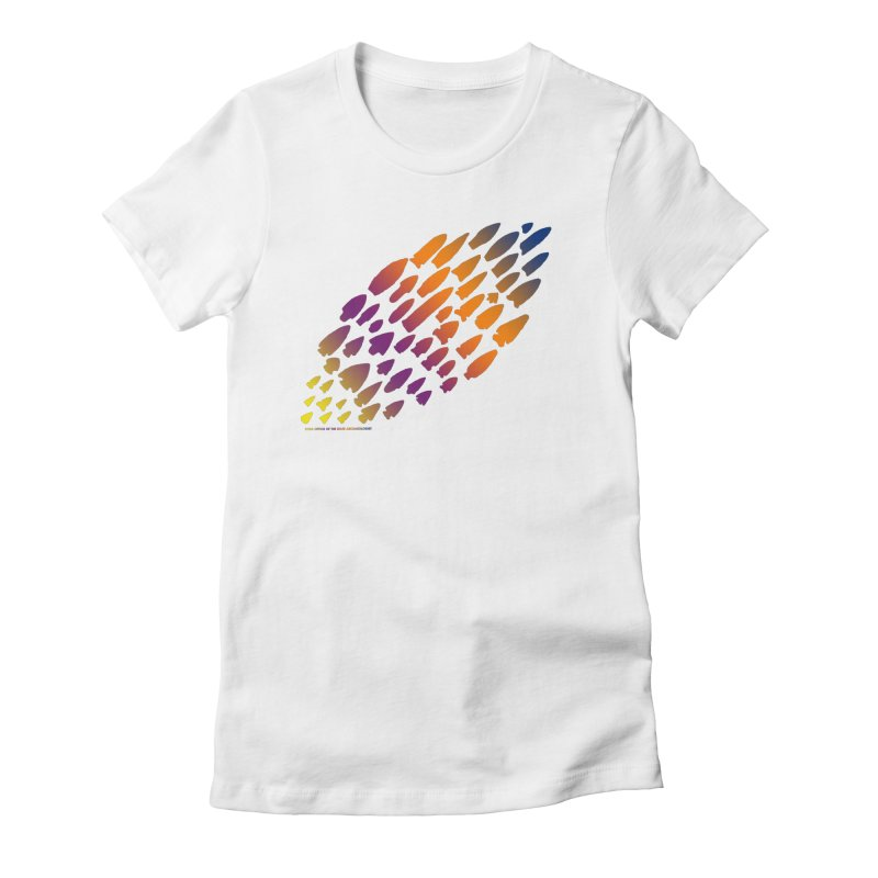 Iowa Projectile Points (Rainbow, Version 2) Women's Fitted T-Shirt by Iowa Archaeology Gifts, Prints, & Apparel