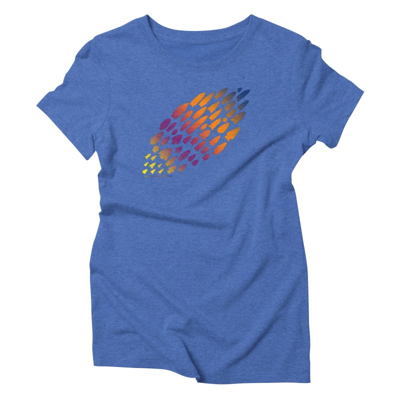 Iowa Projectile Points (Rainbow, Version 2) Women's Triblend T-Shirt by Iowa Archaeology Gifts, Prints, & Apparel