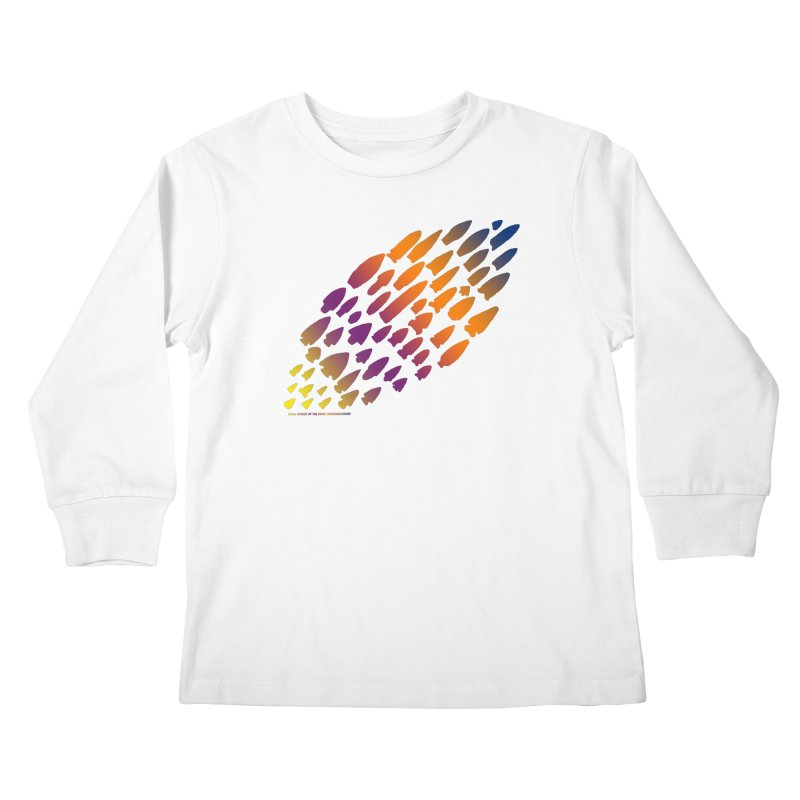 Iowa Projectile Points (Rainbow, Version 2) Kids Longsleeve T-Shirt by Iowa Archaeology Gifts, Prints, & Apparel