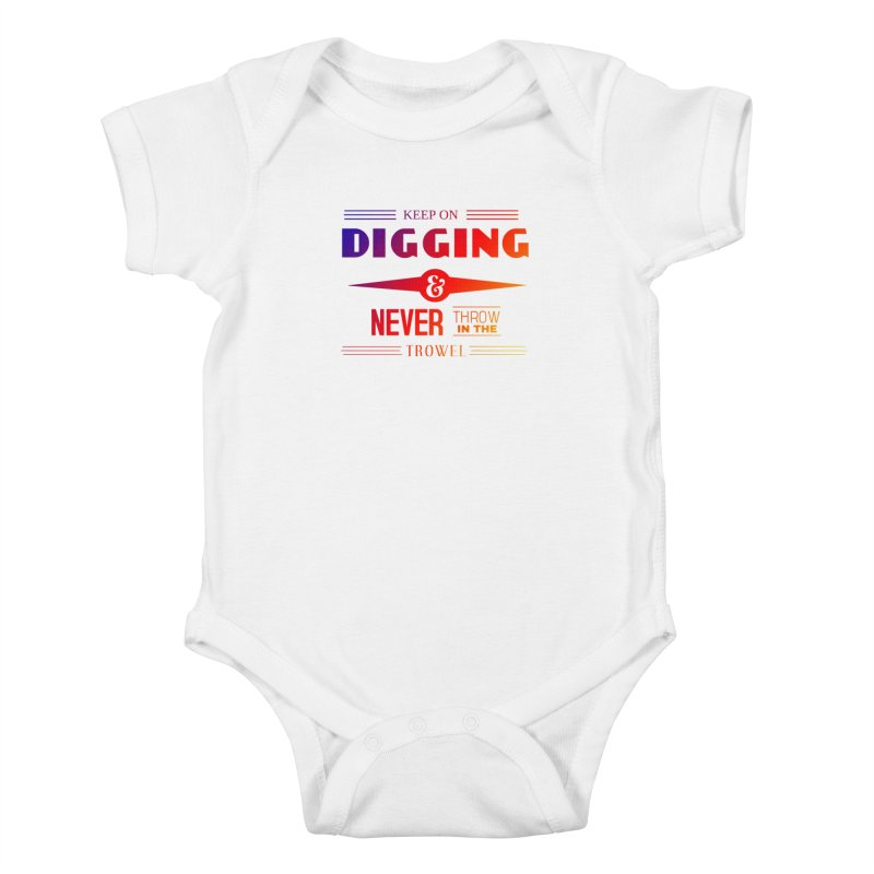 Keep On Digging (Rainbow) Kids Baby Bodysuit by Iowa Archaeology Gifts, Prints, & Apparel