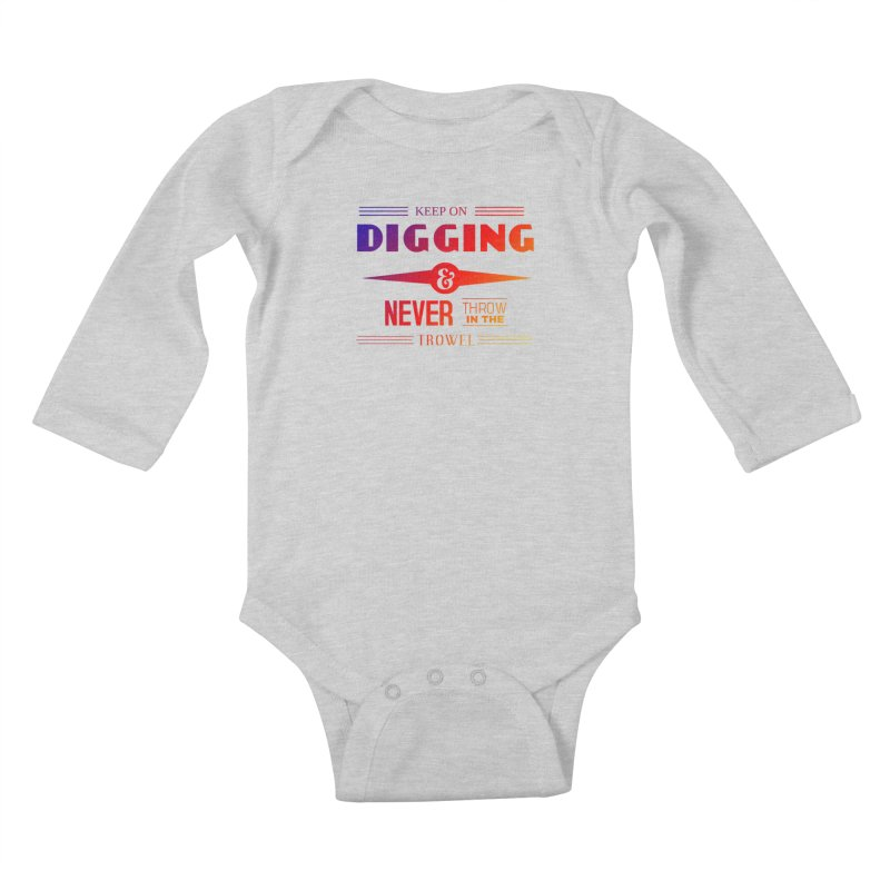 Keep On Digging (Rainbow) Kids Baby Longsleeve Bodysuit by Iowa Archaeology Gifts, Prints, & Apparel