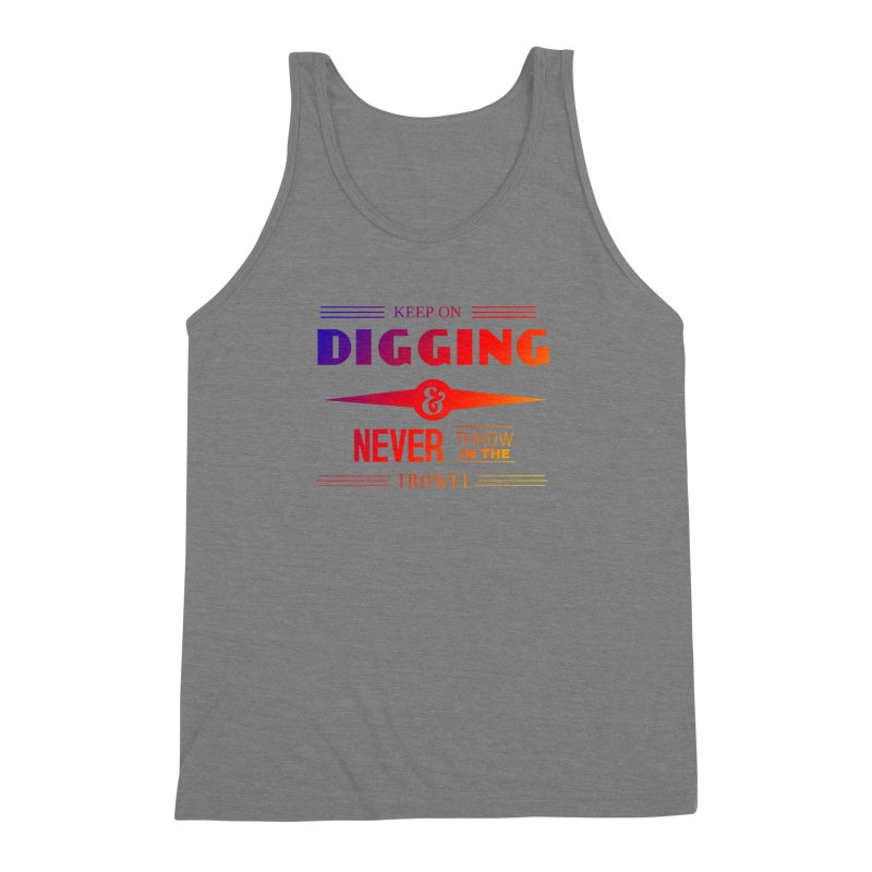 Keep On Digging (Rainbow) Men's Triblend Tank by Iowa Archaeology Gifts, Prints, & Apparel