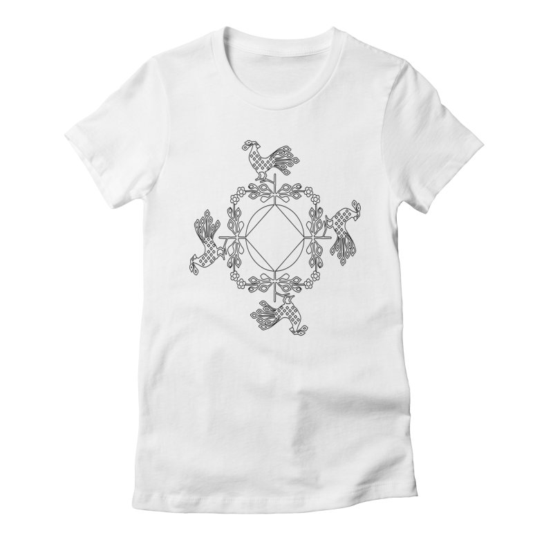Traditional Rooster Women's Fitted T-Shirt by irinescu's Artist Shop