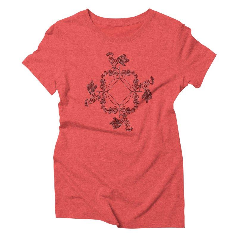 Traditional Rooster Women's Triblend T-Shirt by irinescu's Artist Shop
