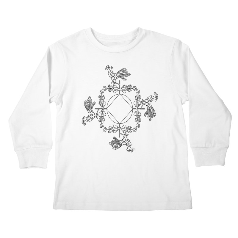 Traditional Rooster Kids Longsleeve T-Shirt by irinescu's Artist Shop