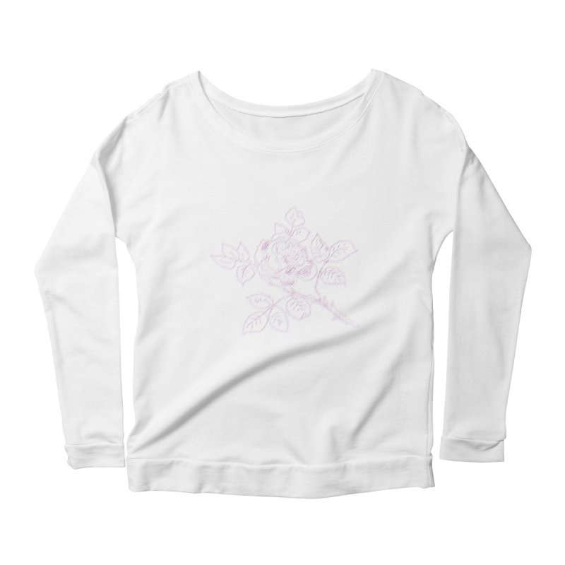 vintage rose Women's Scoop Neck Longsleeve T-Shirt by irinescu's Artist Shop