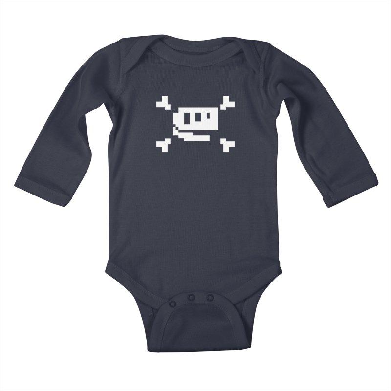 Crossbones Rex - J8P Kids Baby Longsleeve Bodysuit by IRONSAURUS SHOP