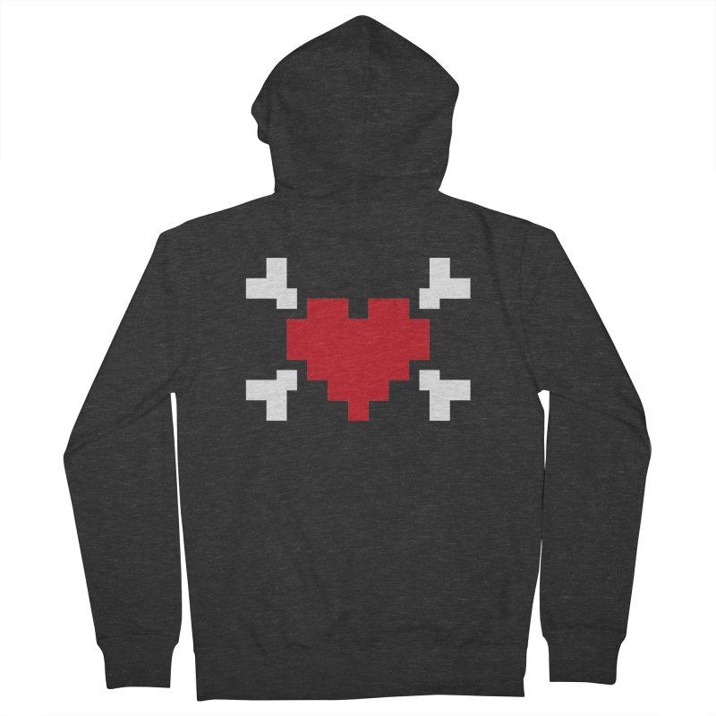 Crossbones Heart Women's French Terry Zip-Up Hoody by IRONSAURUS SHOP