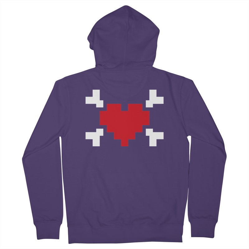Crossbones Heart Women's Zip-Up Hoody by IRONSAURUS SHOP