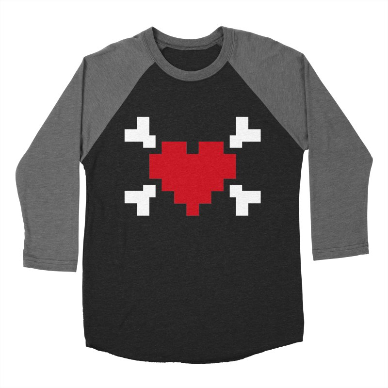 Crossbones Heart Men's Baseball Triblend T-Shirt by IRONSAURUS SHOP