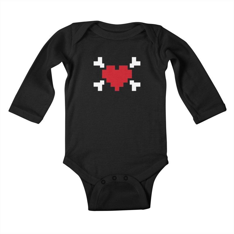 Crossbones Heart Kids Baby Longsleeve Bodysuit by IRONSAURUS SHOP