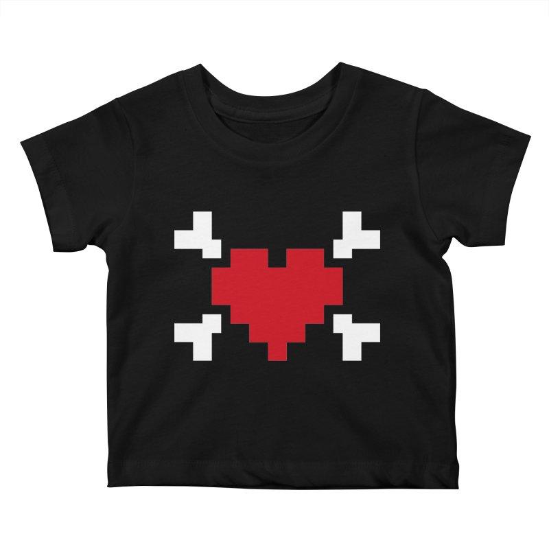 Crossbones Heart Kids Baby T-Shirt by IRONSAURUS SHOP