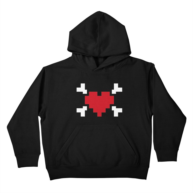 Crossbones Heart Kids Pullover Hoody by IRONSAURUS SHOP