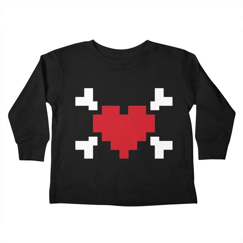 Crossbones Heart Kids Toddler Longsleeve T-Shirt by IRONSAURUS SHOP