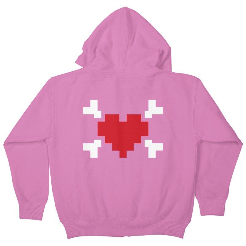 Crossbones Heart Kids Zip-Up Hoody by IRONSAURUS SHOP
