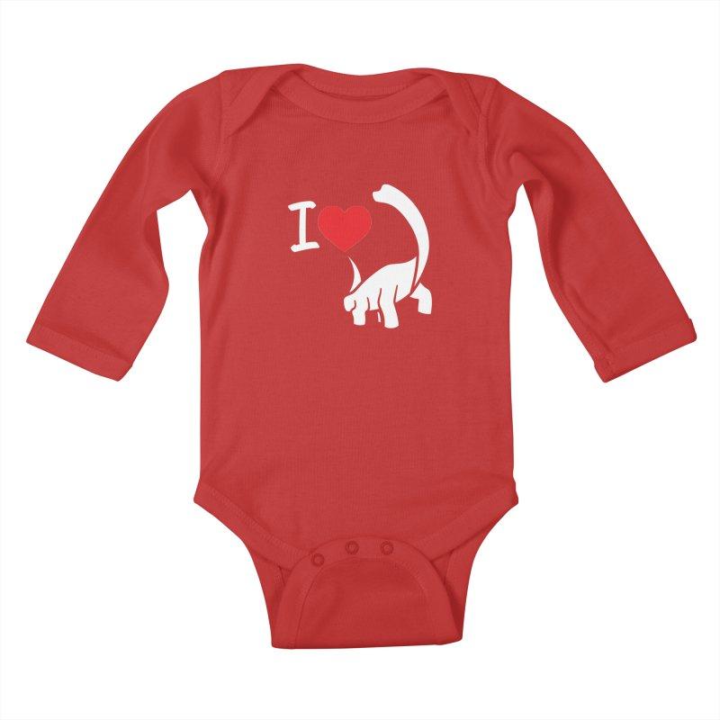 I Love Dinos <3 Kids Baby Longsleeve Bodysuit by IRONSAURUS SHOP