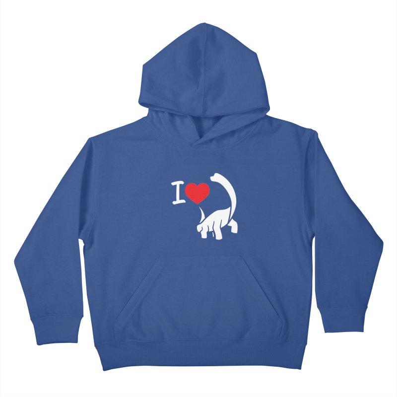 I Love Dinos <3 Kids Pullover Hoody by IRONSAURUS SHOP