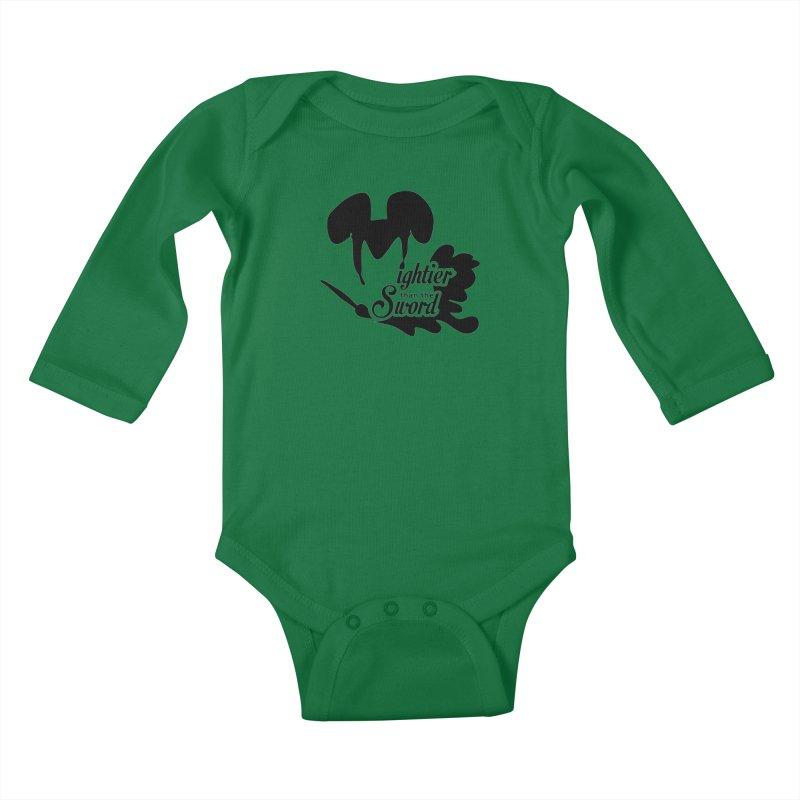 Mightier than the Sword - D80 Kids Baby Longsleeve Bodysuit by IRONSAURUS SHOP