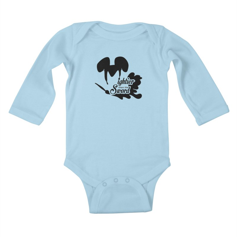 Mightier than the Sword - D80 Kids Baby Longsleeve Bodysuit by IRONSAURUS SHOP