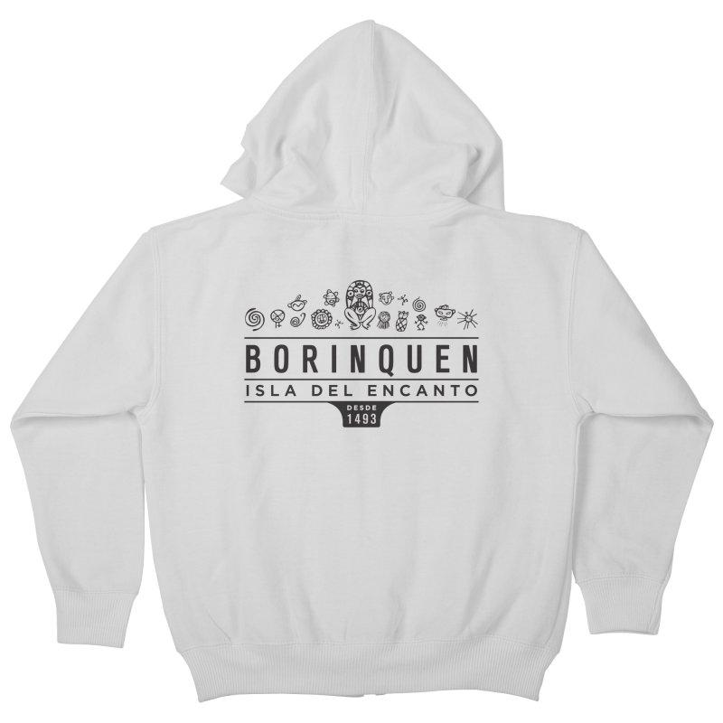 Boriquen Isla del Encanto - PR Kids Zip-Up Hoody by IRONSAURUS SHOP