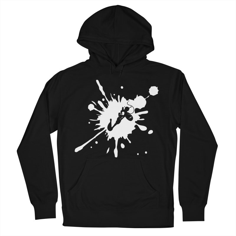 The Mighty Ink - D80 - White Men's French Terry Pullover Hoody by IRONSAURUS SHOP