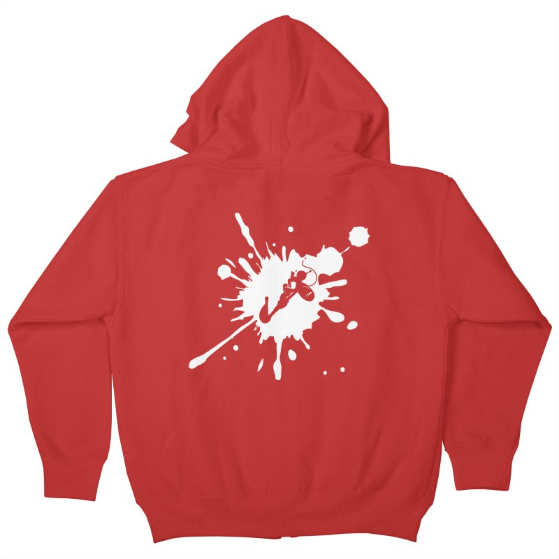 The Mighty Ink - D80 - White Kids Zip-Up Hoody by IRONSAURUS SHOP