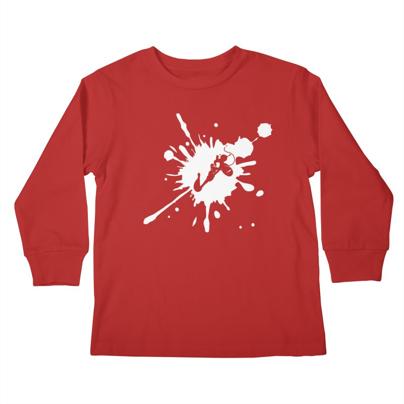 The Mighty Ink - D80 - White Kids Longsleeve T-Shirt by IRONSAURUS SHOP