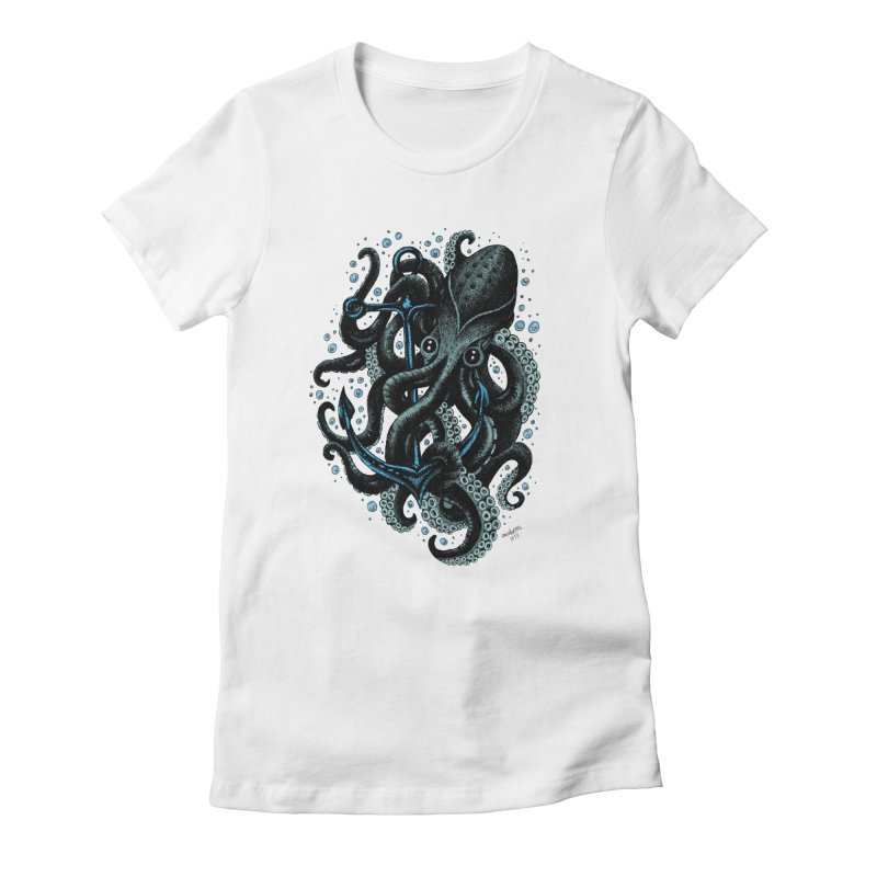 octopus Women's Fitted T-Shirt by irrthum's Shop