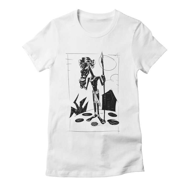 AFRICAN WARRIOR Women's Fitted T-Shirt by irrthum's Shop
