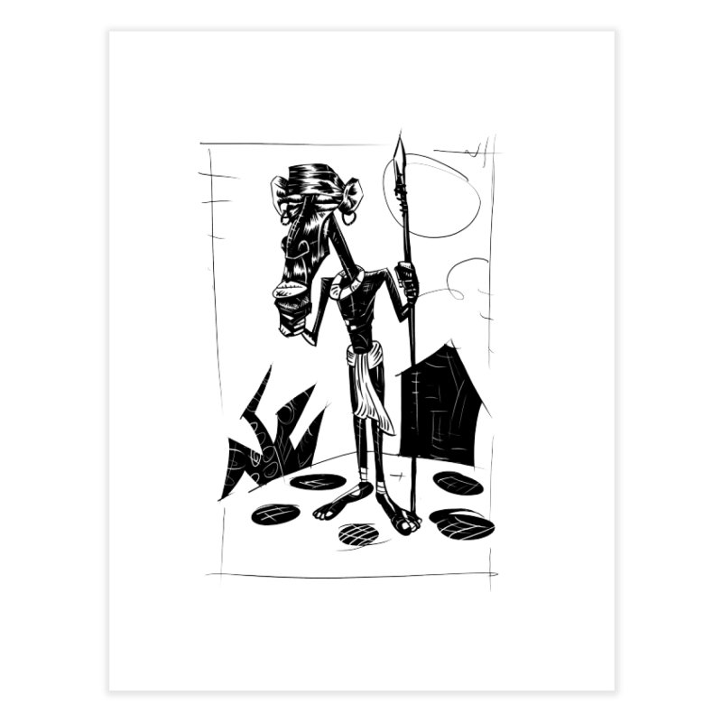 AFRICAN WARRIOR Home Fine Art Print by irrthum's Shop