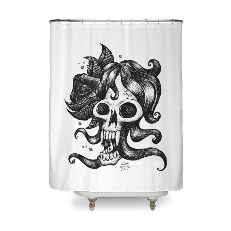 skull woman Home Shower Curtain by irrthum's Shop