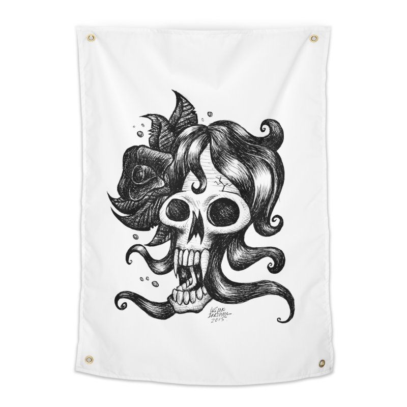 skull woman Home Tapestry by irrthum's Shop