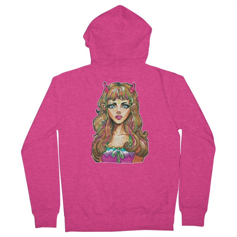 Alien girl Women's French Terry Zip-Up Hoody by isabellaprint's Artist Shop