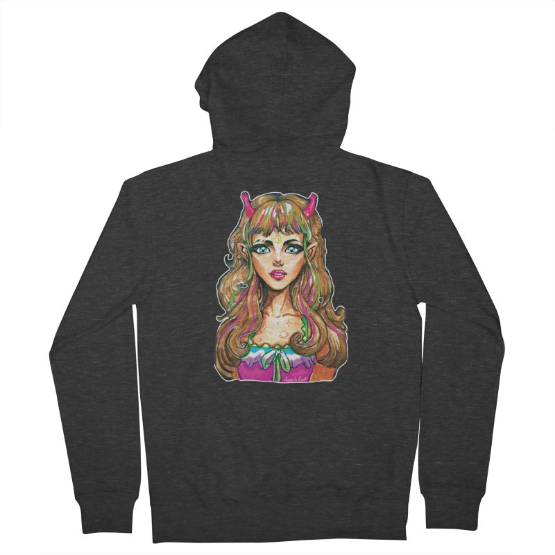Alien girl Men's French Terry Zip-Up Hoody by isabellaprint's Artist Shop
