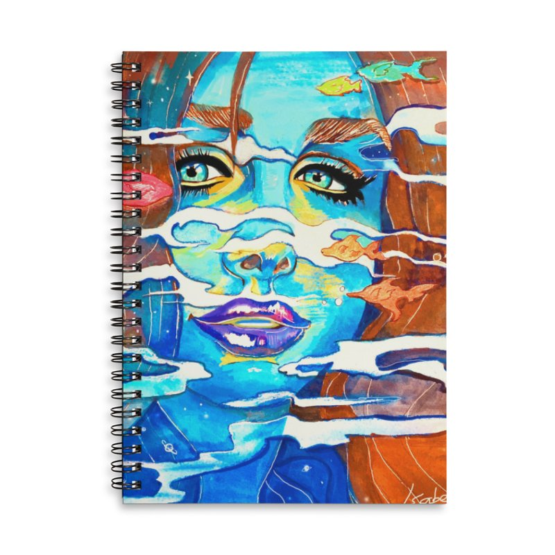 Blue Mermaid Prints Accessories Lined Spiral Notebook by isabellaprint's Artist Shop