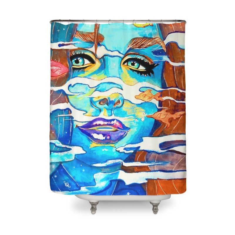 Blue Mermaid Prints Home Shower Curtain by isabellaprint's Artist Shop