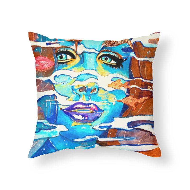 Blue Mermaid Prints Home Throw Pillow by isabellaprint's Artist Shop