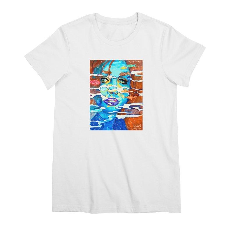 Blue Mermaid Prints Women's Premium T-Shirt by isabellaprint's Artist Shop