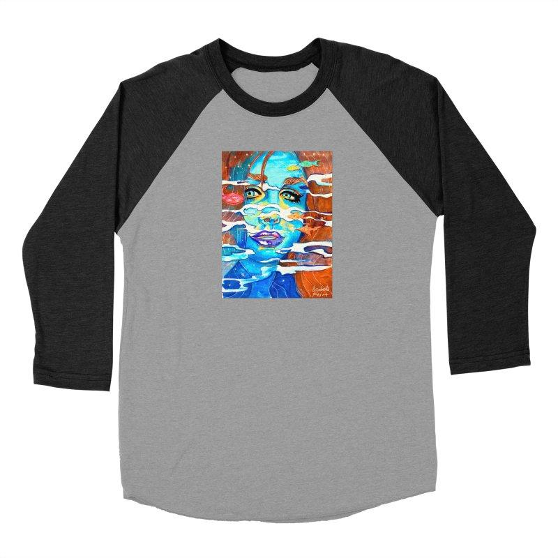 Blue Mermaid Prints Women's Baseball Triblend Longsleeve T-Shirt by isabellaprint's Artist Shop