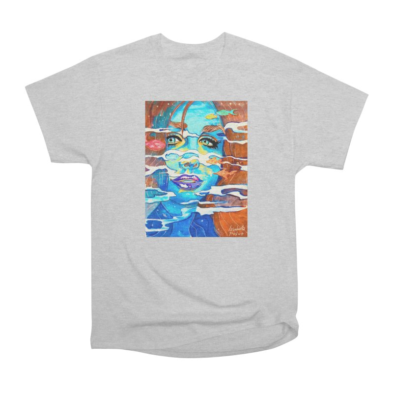 Blue Mermaid Prints Women's Heavyweight Unisex T-Shirt by isabellaprint's Artist Shop