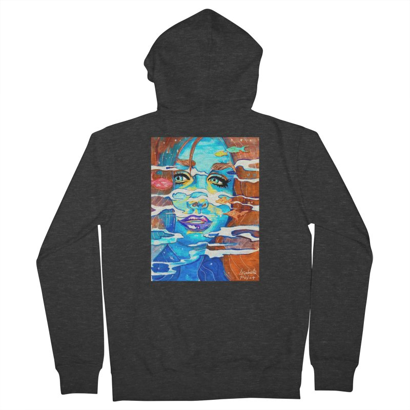 Blue Mermaid Prints Women's French Terry Zip-Up Hoody by isabellaprint's Artist Shop