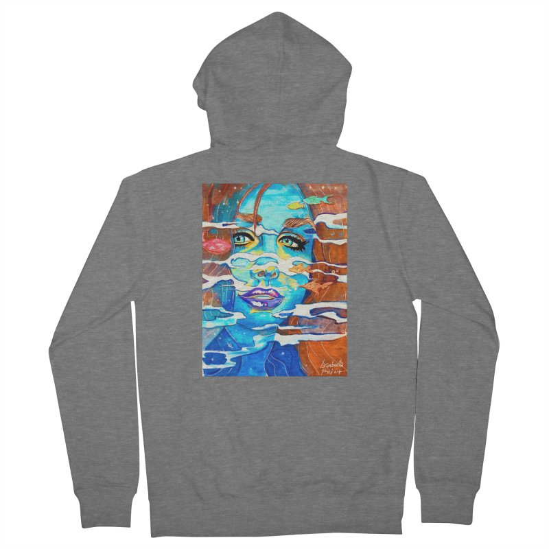 Blue Mermaid Prints Men's French Terry Zip-Up Hoody by isabellaprint's Artist Shop
