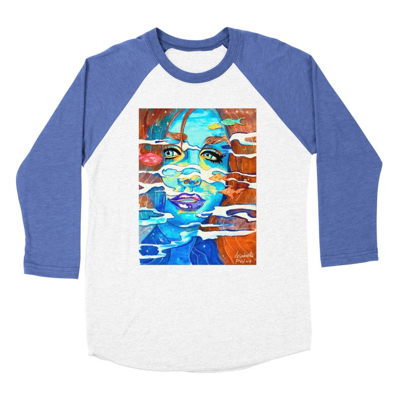 Blue Mermaid Prints Women's Baseball Triblend Longsleeve T-Shirt by isabellaprint's Artist Shop