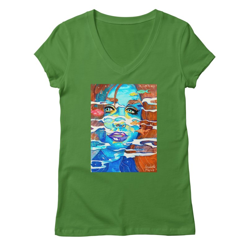 Blue Mermaid Prints Women's V-Neck by isabellaprint's Artist Shop