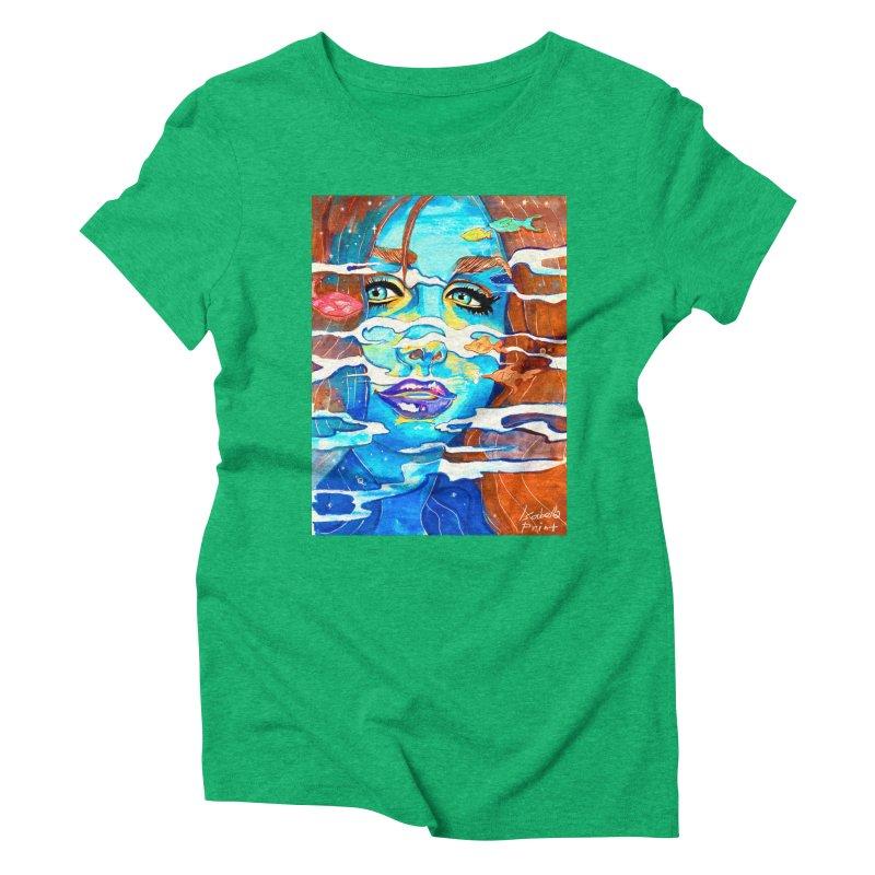 Blue Mermaid Prints Women's Triblend T-Shirt by isabellaprint's Artist Shop