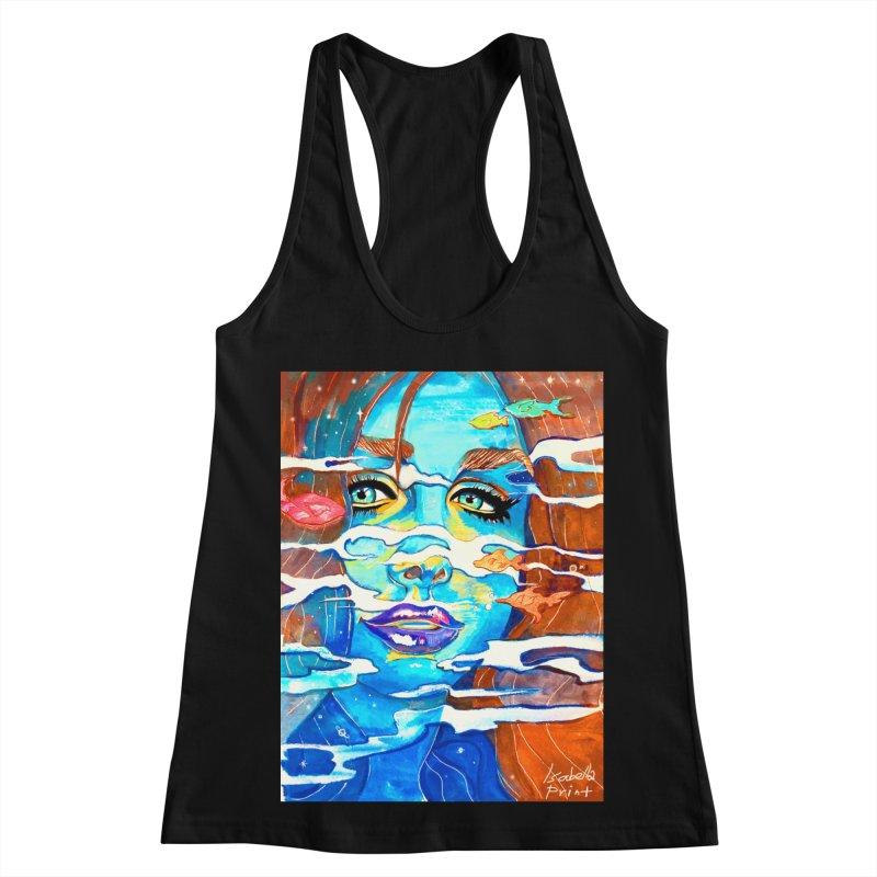 Blue Mermaid Prints Women's Racerback Tank by isabellaprint's Artist Shop