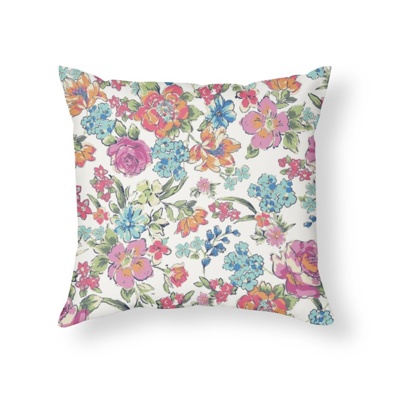 Lively Flowers Home Throw Pillow by isabellaprint's Artist Shop