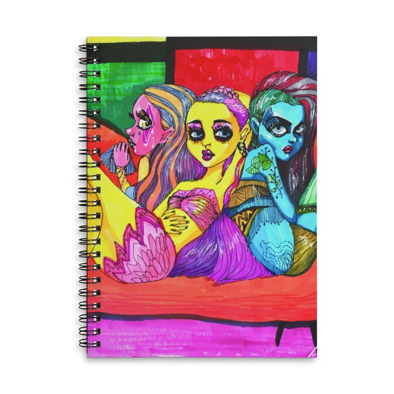 3 Girls Accessories Lined Spiral Notebook by isabellaprint's Artist Shop